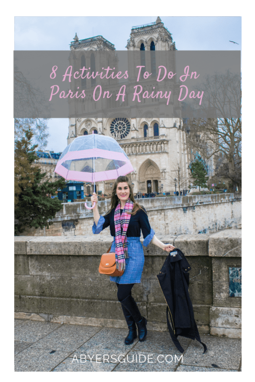 Paris rain | Paris rainy days | what to do on a rainy day in Paris | Paris rain outfit | Paris guide | what to do in Paris | pattern mixing | pink plaid Burberry scarf | Button Up Knot Front Plaid Skirt