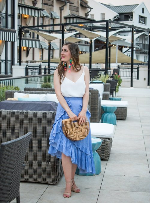 Back To Basics:Summer Bags | Bamboo bag | Applause of Ruffle Tiered Frill Hem Skirt in Blue Stripes | Chicwish Applause of Ruffle Tiered Frill Hem Skirt in Blue Stripes | blue skirt and multi colored earrings | summer basic bags