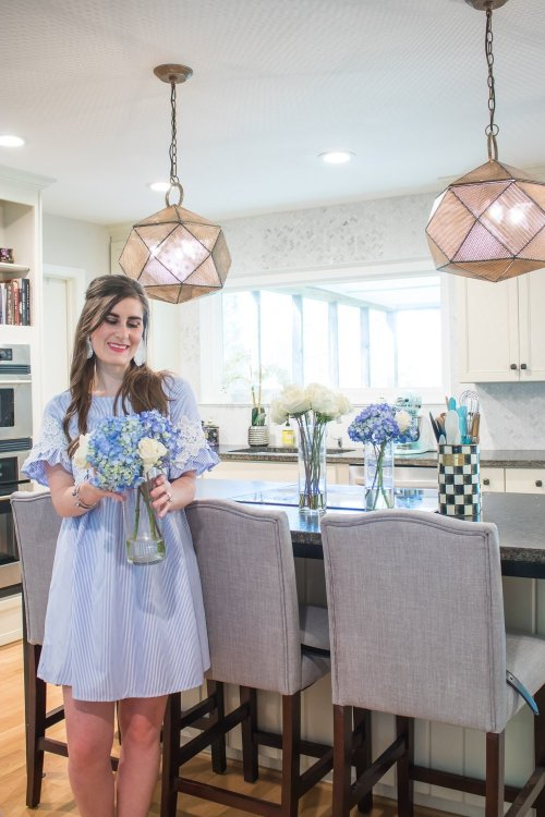 SHEIN Guipure Lace Striped Smock Dress | SHEIN SHEIN Guipure Lace Striped Smock Dress | How To Make Easy Flower Arrangements On A Budget | DIY Flower arrangements | flower arrangements how to make | blue hydrangea and rose arrangements | trader Joe's flowers | tips to make flower arrangements