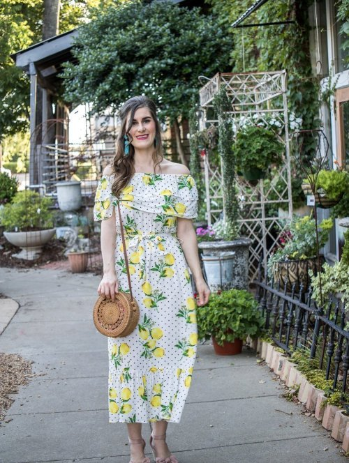 SHEIN Lemon & Polka-dot Ruffle Hem Off Shoulder Belted Dress | Lisi Lerch | Tassel Earrings - Aqua | Turning Lemons Into Lemonade: Tips to Have A Positive Attitude | Yellow and turquoise