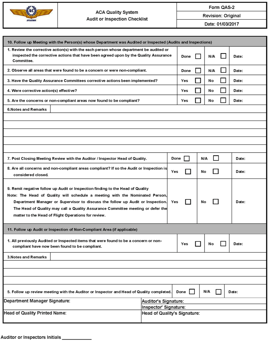 Sample Audit Or Inspection Checklist, Form Qas-2¶