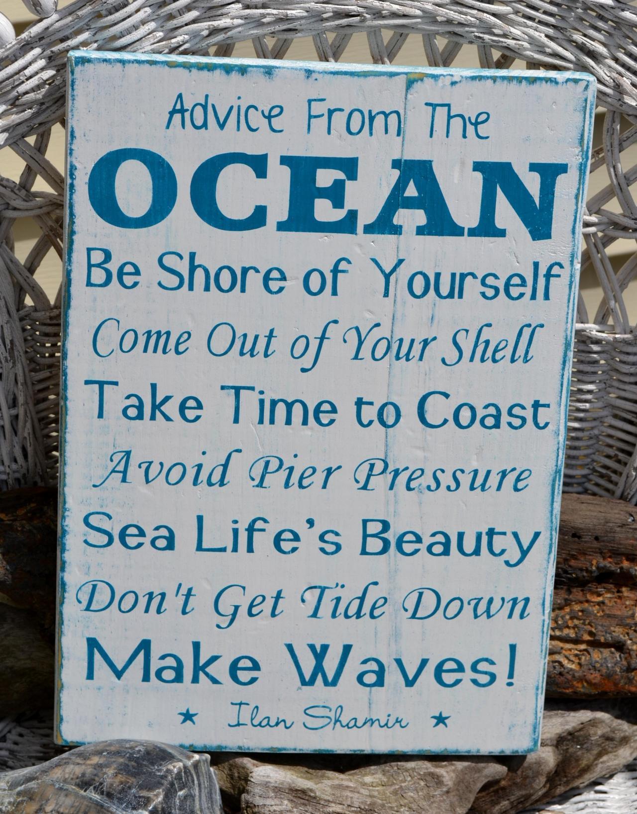 Advice From The Ocean, Beach Sign, Beach Decor, Coastal