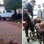 Criminoso tenta fugir com caminhonete roubada e acaba sendo baleado pela polícia com 3 tiros