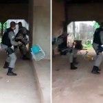 """Policiais militares levam """"peia"""" com cabo de vassoura ao tentarem deter homem no Acre"""