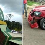 Forte temporal derruba pórtico da entrada de Rio Branco e atinge carro