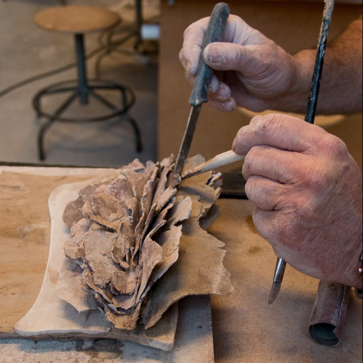 image d'une sculpture en cours de réalisation