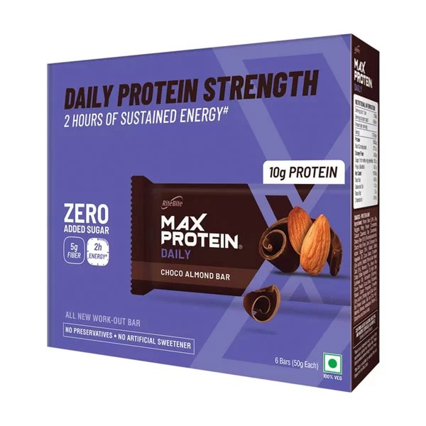 2 PC RiteBite Max Protein Daily Zero Added Sugar - Choco Almond (Pack of 6) x 2-0