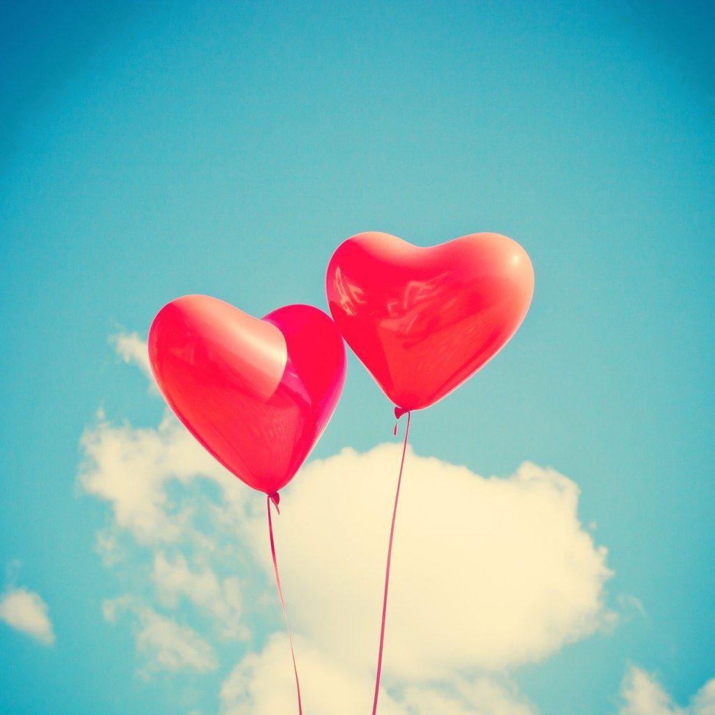 balloon, heart, love