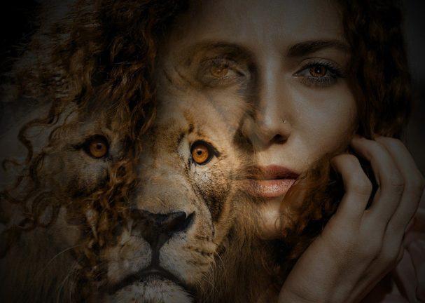 woman, lion, eyes