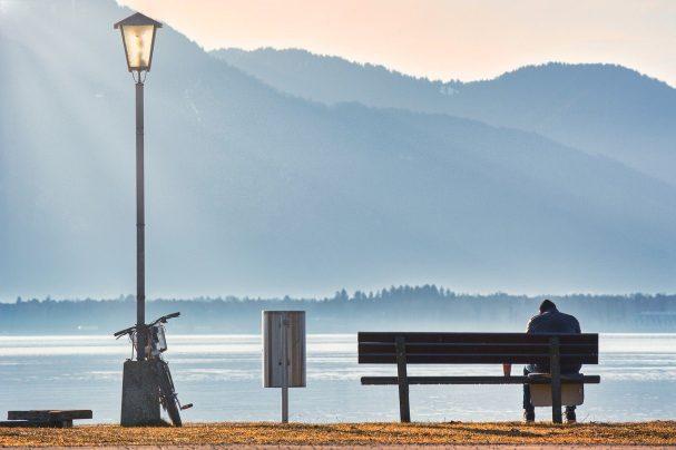 person, bench, lake