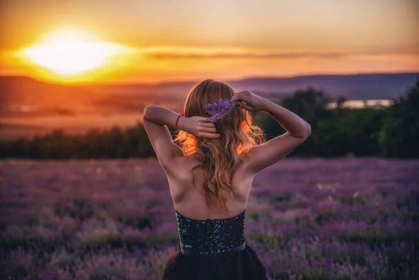 woman, lavender field, sunset
