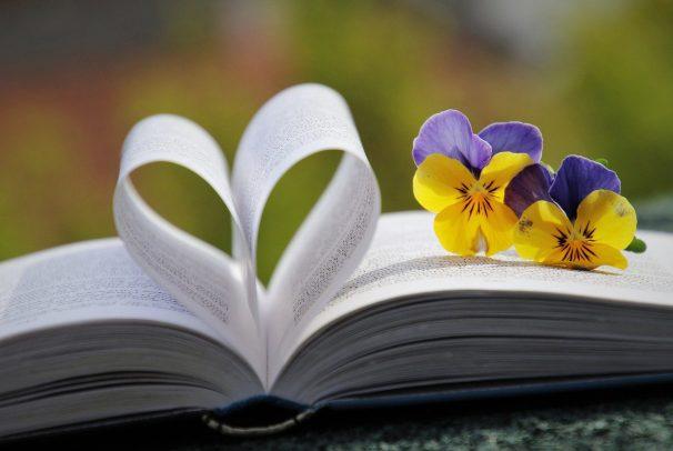 book, heart, pansies
