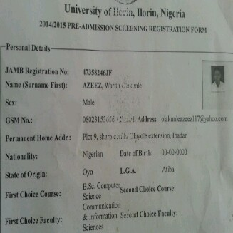 My Unilorin post utme form