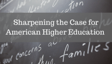 Sharpening the case for American higher education - on chalk board