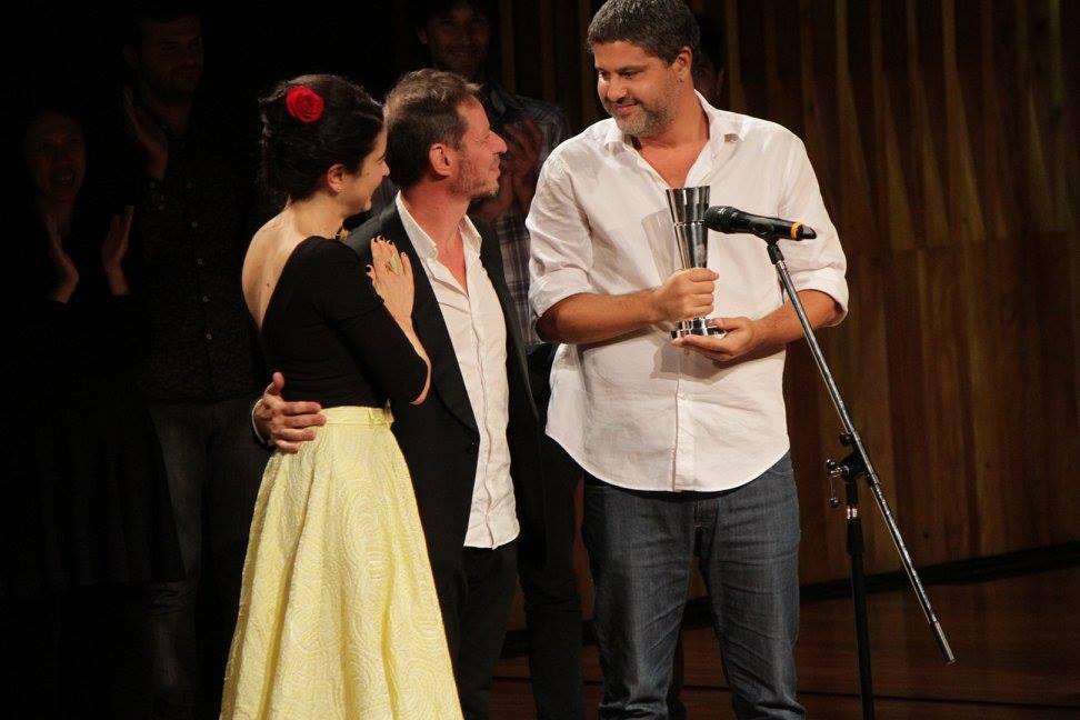 Erica Rivas, Ariel Rotter y su productor Juan Pablo Miller