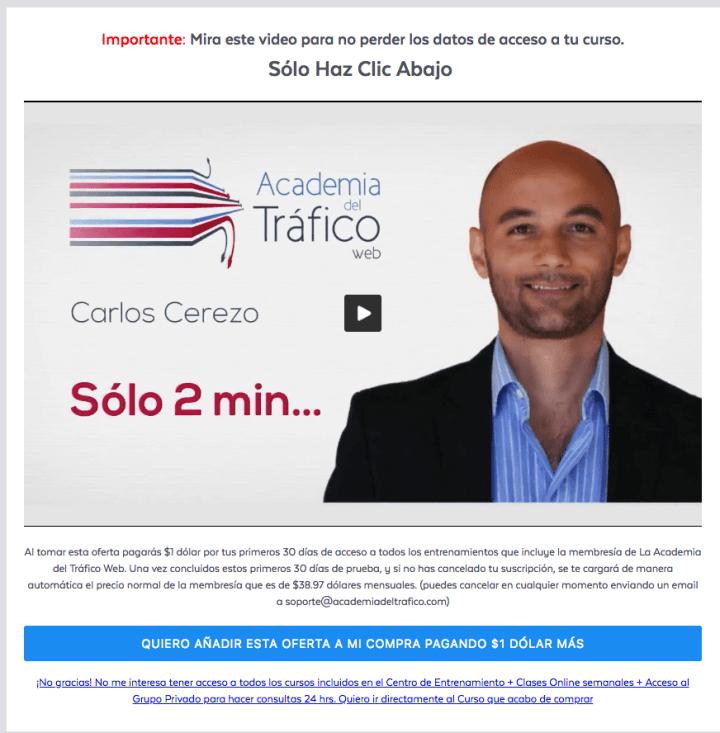 Upsell Membresia Academia del Tráfico
