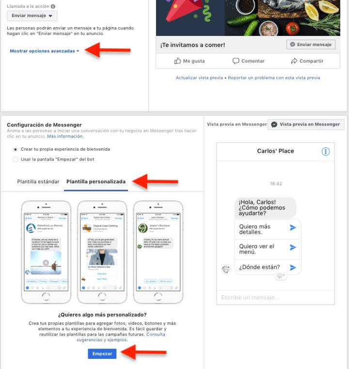 Facebook ads, campaña messenger