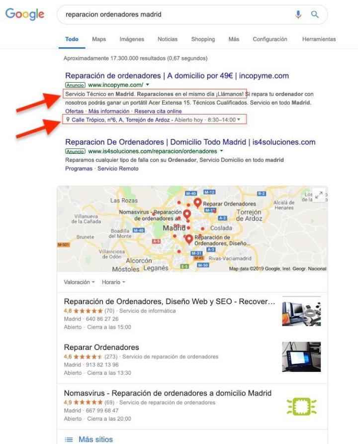 extensión de ubicación en Google