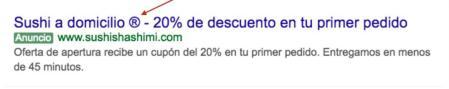 Anuncio en Google Ads con caracter especial