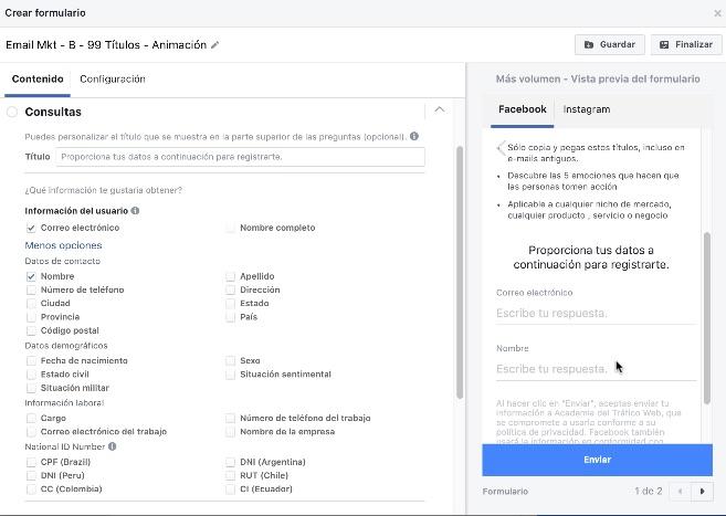 Consultas en tu formulario Lea Ads Facebook