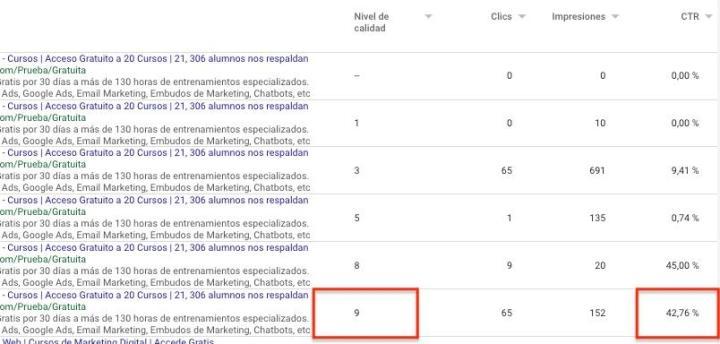 Ejemplo Nivel de Calidad Google Ads