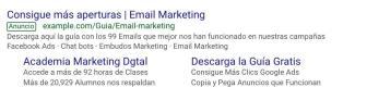 Ejemplo promoción en internet