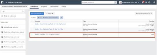 Listas de audiencias personalizadas Facebook