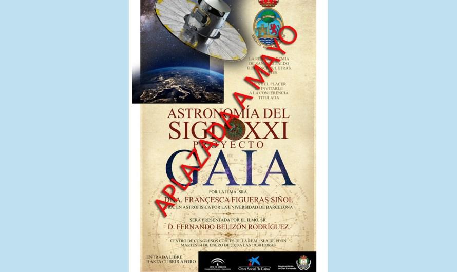 Aplazada la conferencia 'Astronomía del siglo XXI. Proyecto Gaia', prevista para el martes 14, hasta mayo
