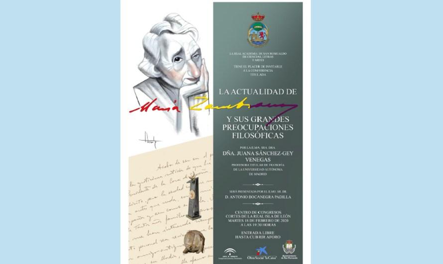 La actualidad de María Zambrano y sus grandes preocupaciones filosóficas, acto del martes 18 de febrero