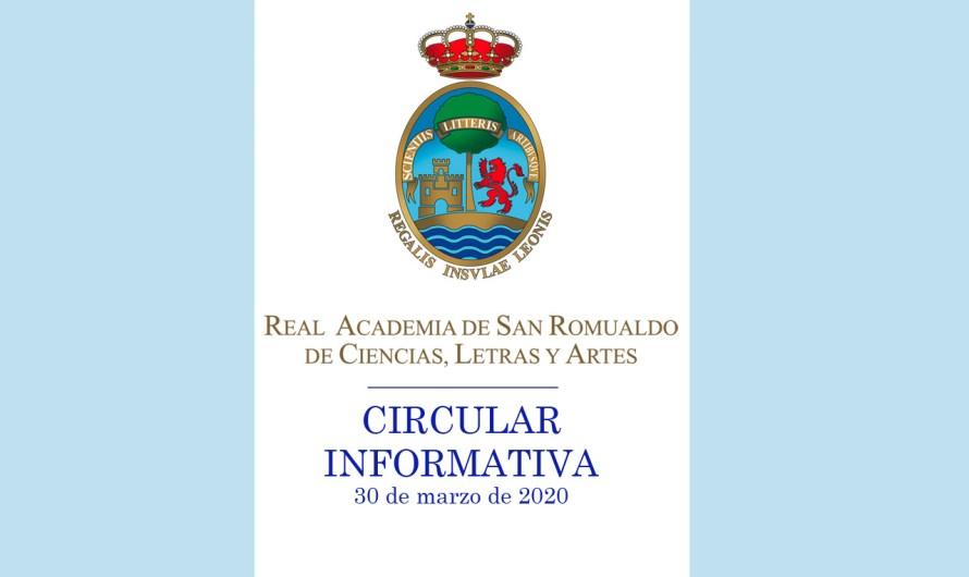 Circular informativa sobre las actividades del curso académico 2019-2020 y la situación provocada por el Coronavirus