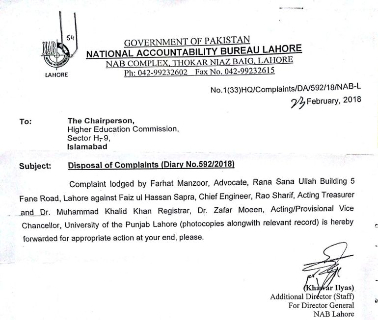 NAB requests HEC to act against former PU VC Dr Nasir