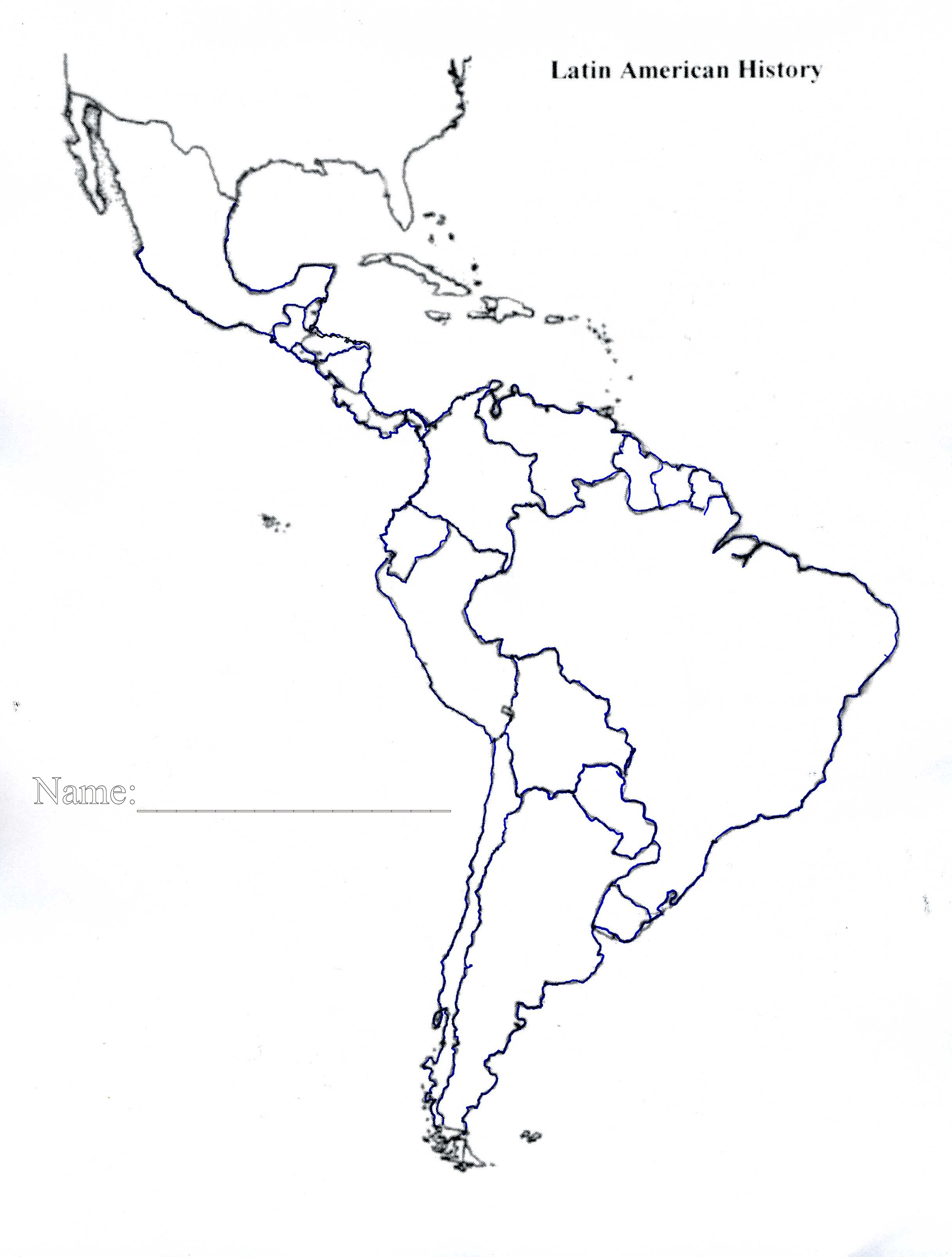 Fill In The Blank Latin America Map Quiz