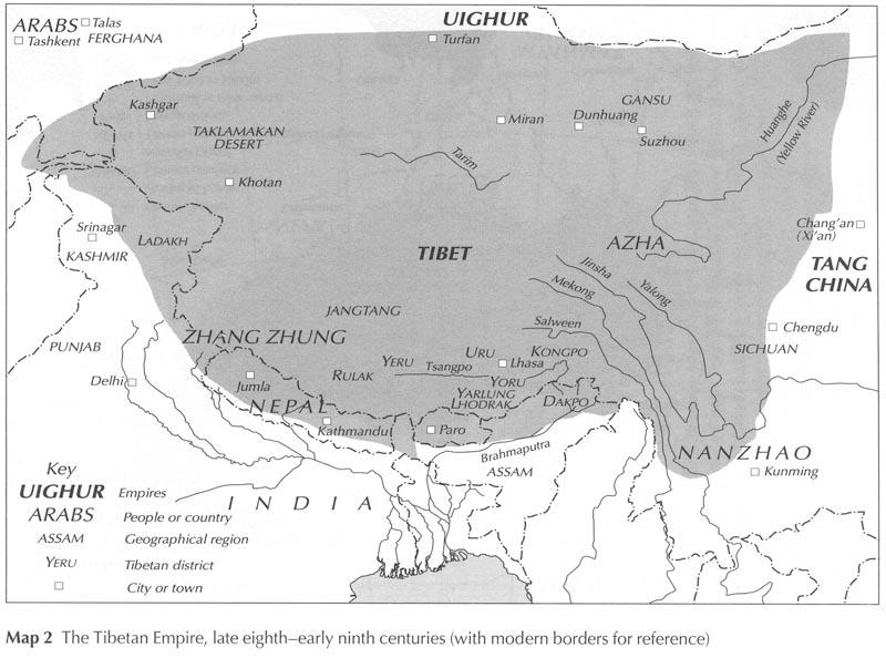 L'empire tibétain aux VIIIe-IXe siècle © Matthew Kapstein