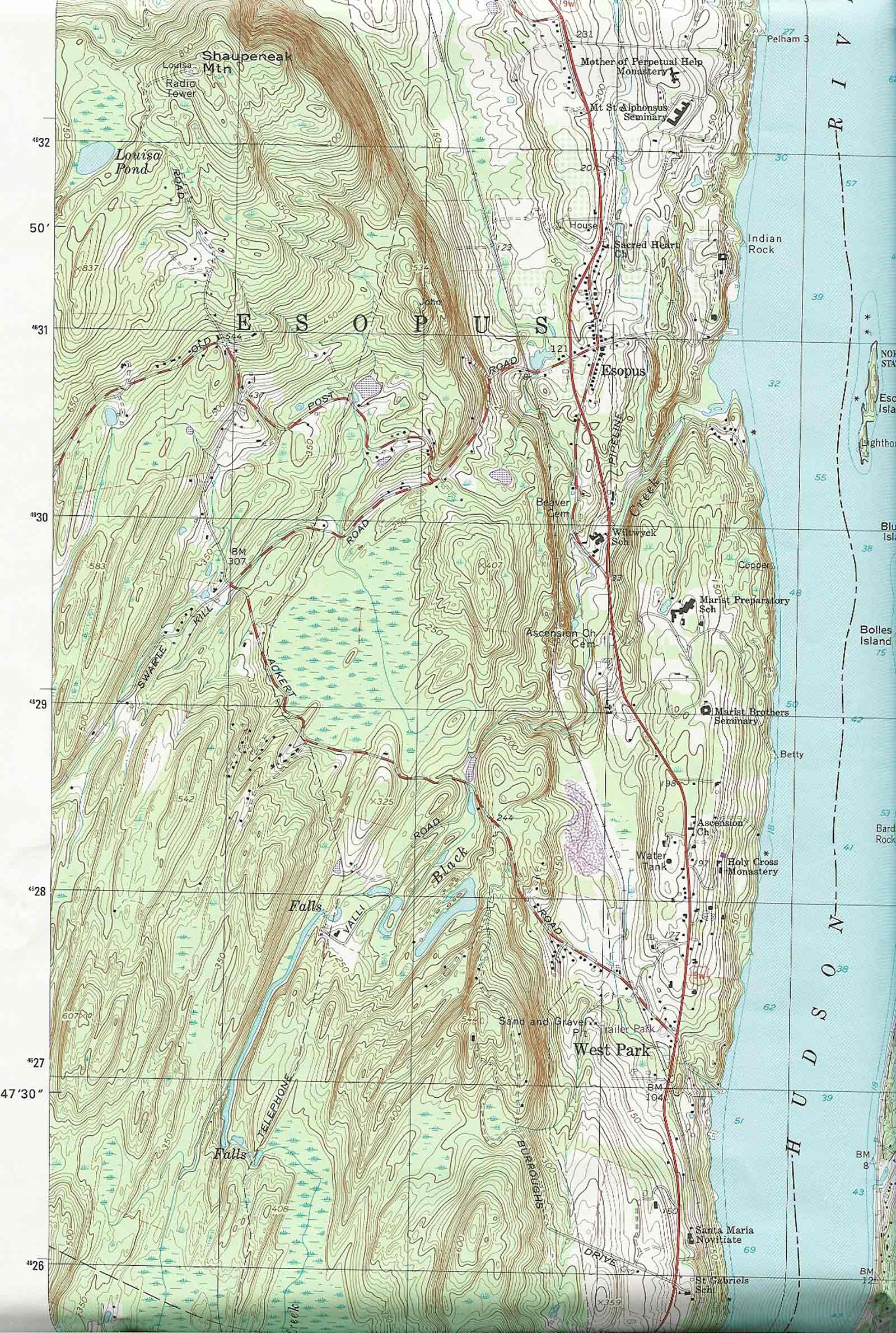 Topographic Map Of The Esopus Property