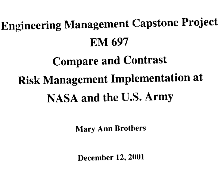 NASA versus Army: Free Capstone Project samples and Examples