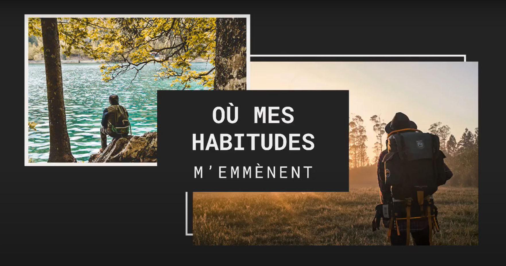 homme assis sur un rocher au bord d'un lac et un autre homme avec un chapeau et un sac à dos dans un champ regardant l'horizon