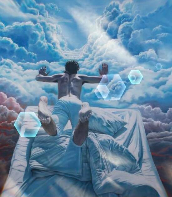 illustration d'un homme en apesanteur au dessus de son lit dans le ciel