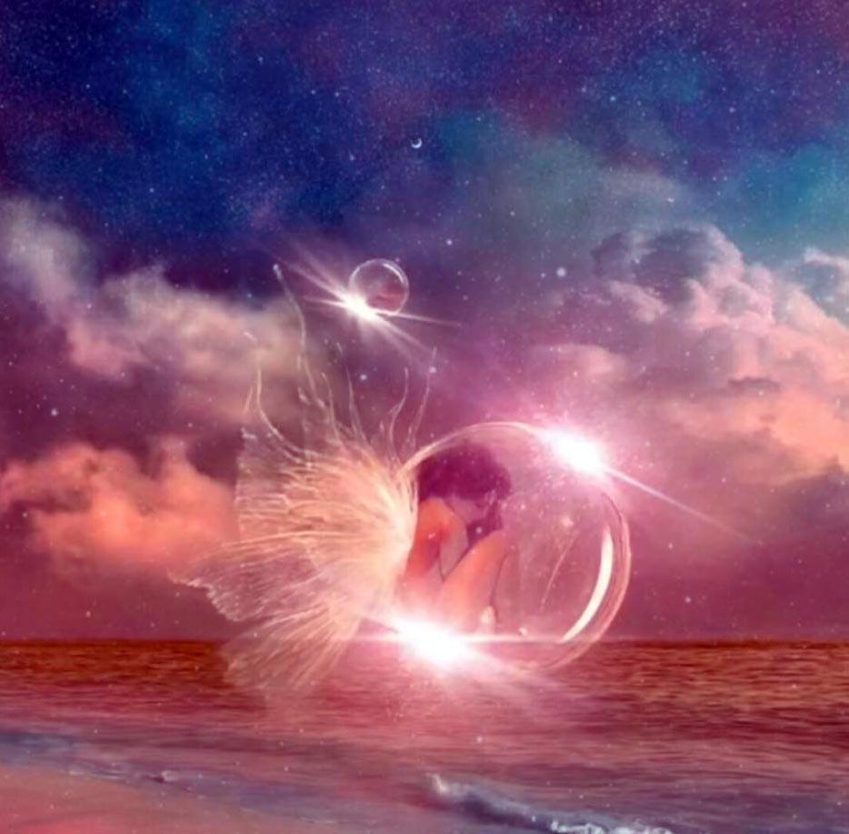 représentation d'une femme ange dans une bulle