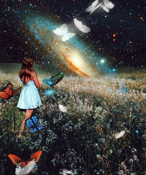 jeune fille en robe blanche dans un champ de fleurs avec des papillons