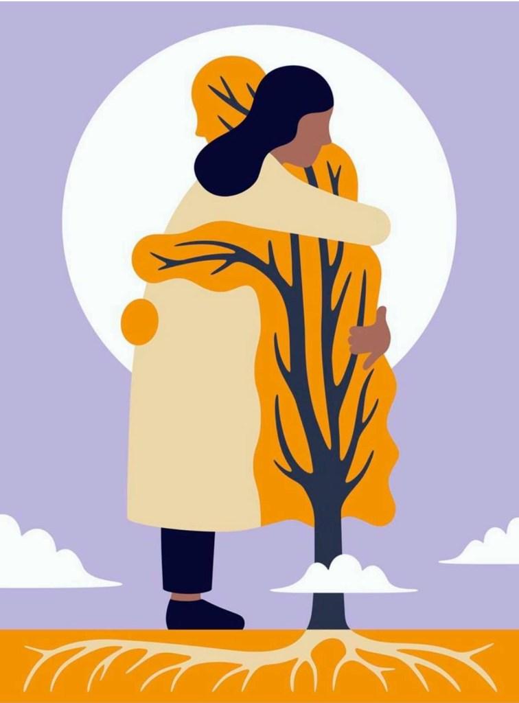 représentation d'une femme prenant un arbre dans ses bras