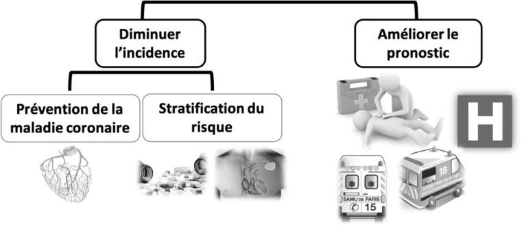 Figure 3 - Les stratégies pour réduire l'impact de la mort subite en population générale Une meilleure prévention et l'optimisation de la chaîne de survie sont des stratégies complémentaires