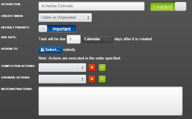 Create an Action Item to Schedule Estimate and related tasks.