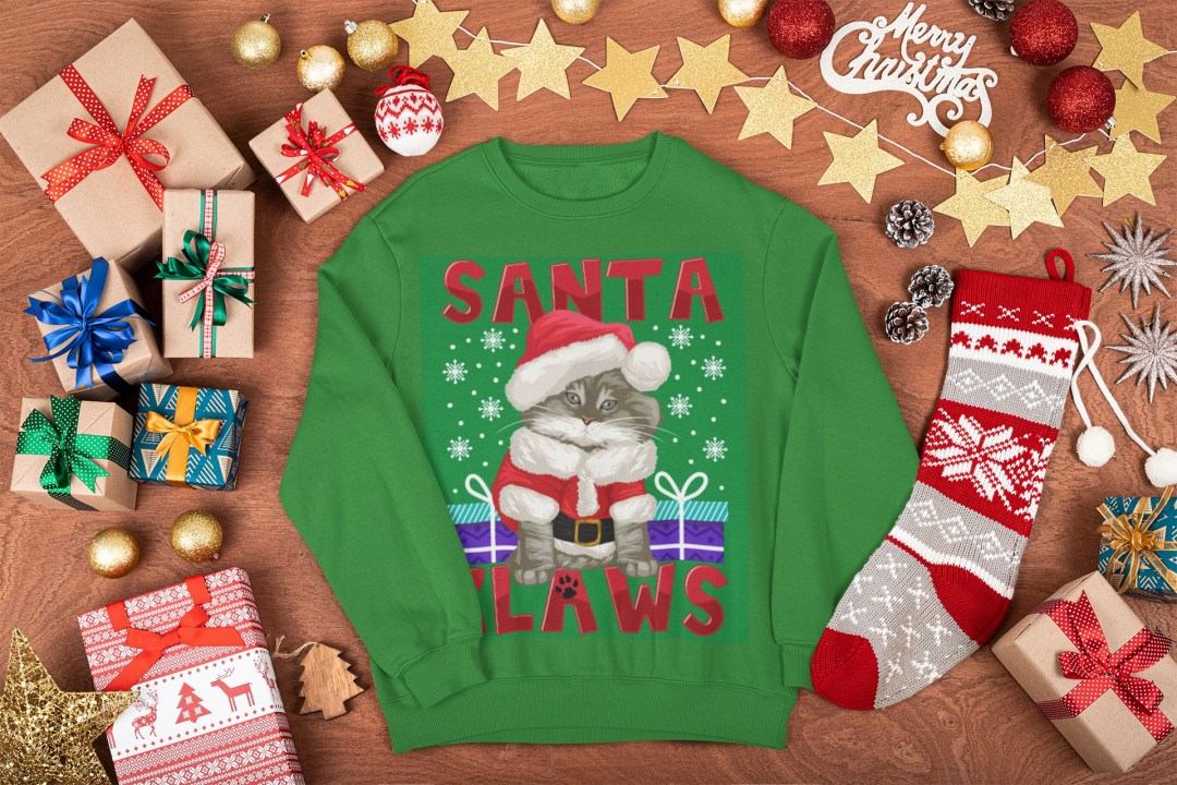 Selling ugly Christmas sweaters: Santa Claws ugly Christmas sweater in green