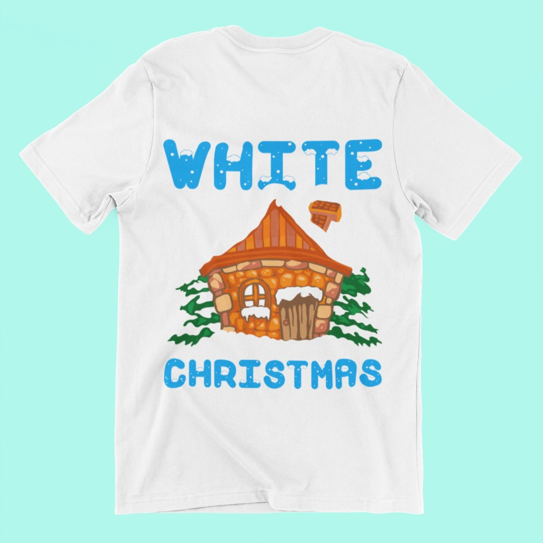 Print on Demand designs: an example of a common design fault - a white T-shirt with a design that features white snow