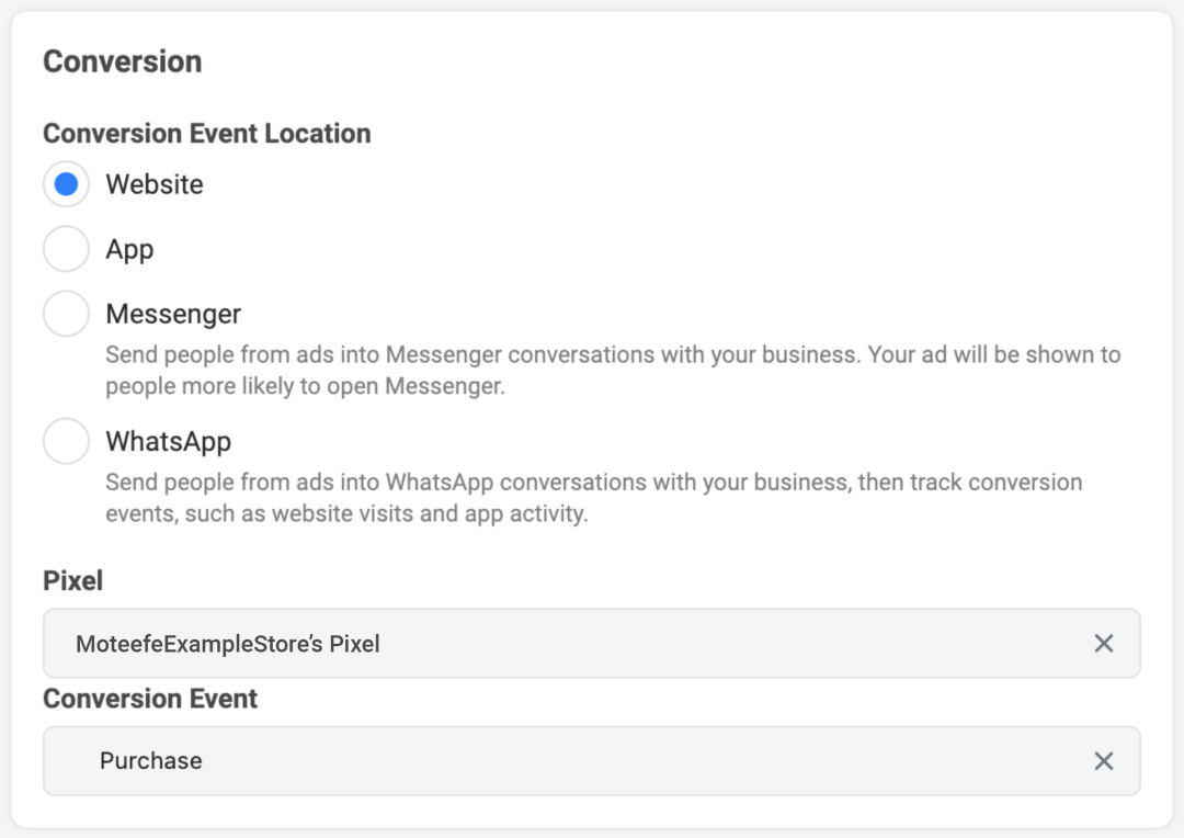 Prioritize your Facebook events: conversion