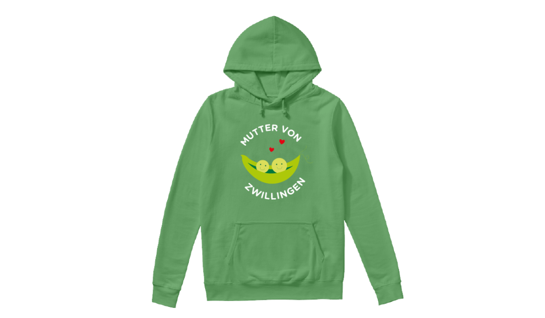 Mother's Day Presents: a green hoodie with custom text in German reading 'Mother of Twins'