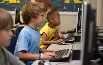 children learning with computer