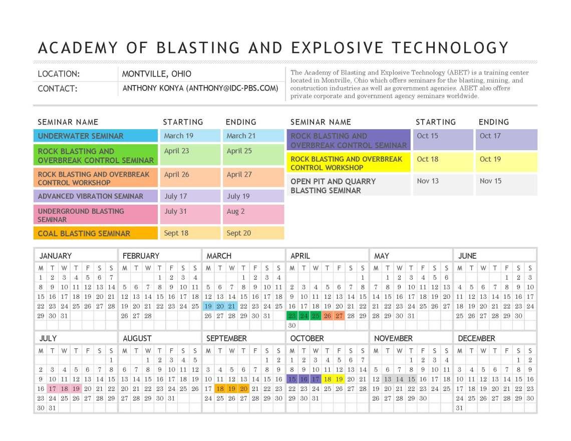 Blasting Seminar Schedule