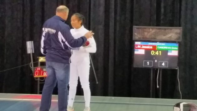 Yakov Danilenko coaching Jessica Lin at the final strip at November 2016 NAC in Milwaukee