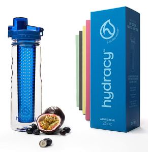Hydracy Fruit Infuser Water Bottle - 25 Oz Sports Bottle with Full Length Infusion Rod and Insulating Sleeve Combo Set